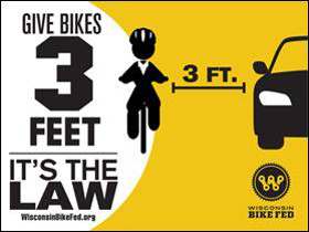 Give Bikes 3 Feet - It's the Law